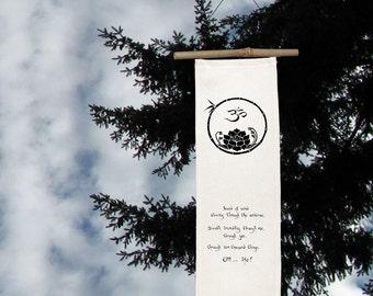 OM/Lotus-Silk Scroll-sacred symbol-altar-Yoga-Breath-Yin and Yang-Black and White-Lotus-OM-Sufi-Zen Gift-Celebrate Life-Spiritual gift