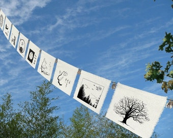 9 group prayer flags-Prayers for the Earth-Crane-Peace on Earth-Earth from Space-Planet Earth-fauna and flora-sea-tree-bear-dove-sea turtle