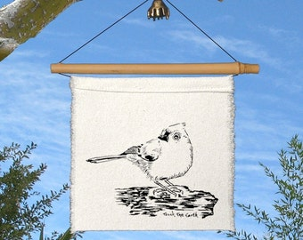 1 Little Prayer - Happy as a Bird-Tufted Titmouse-Sall pocket-Springtime-baby gift-wedding favor-joy-happiness-love-wind chime-song bird