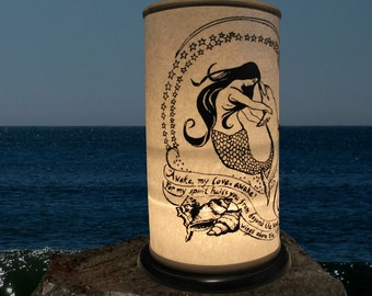 Mermaid, Dolphin Shoji Candle Lantern,Candle Holder, Home decor, Beach Lighting, wedding ocean sea, Jacques Cousteau, Kahlil Gibran, Awake