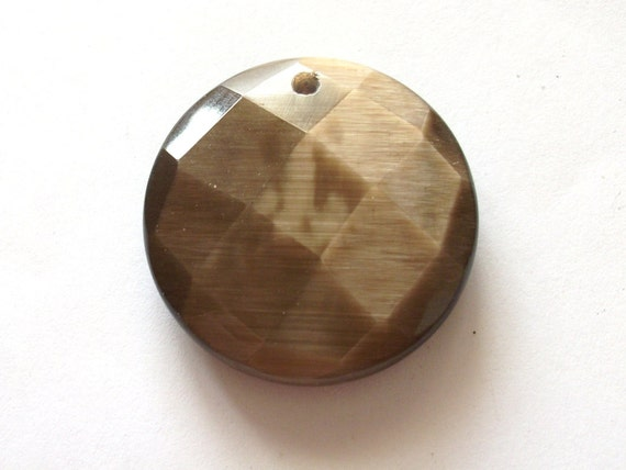 sale - Vintage Brown bronze tone faceted Glass pendant charm