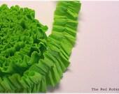 SPRING GREEN Ruffled Crepe Paper Trim