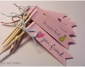 Set of 8 Mini Pink BANNER FLAGS with stamped sentiments...glittered and embellished