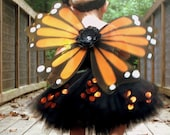 ONLY 2 LEFT Maddi Monarch Butterfly Costume Set - Includes Wings, Flower Headband and Sequin Tutu