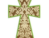 Modern Cross Applique Embroidery Design in satin and Zig Zag