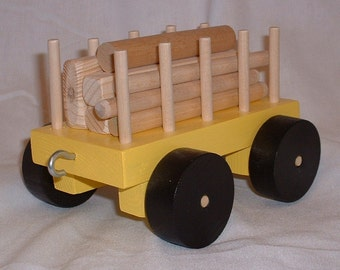 Toy Train Log Car in Yellow or Blue - Handcrafted Wooden Toy Train Log Car in Yellow or Blue