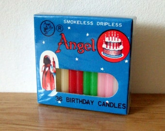 Vintage Birthday Cake Candles - Multicolour Angel Brand Candles in Original Packaging