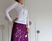 Plum Knee Length Skirt Screen Printed with my Drawing-The bird and the falling leaves-size Large