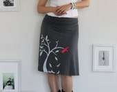 Grey Knee Length Skirt Screen Printed with my Drawing-The bird and the falling leaves-size Small