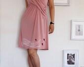 Dusty Pink Knee length Dress . Cowl Neck Nursing Dress - The Kite Runner-size Small