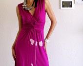 V neck Sleeveless Magenta Dress . Bridesmaid knee length dress - Butterfly's office affair - size Large