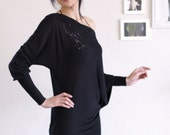 Black  Long Sleeve Asymmetrical Mini Dress-The Hunter Constellation-size Medium