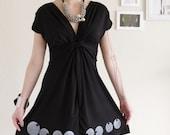 Cotton dress . Fun Black Dress . V-neck dress . Handmade Applique Dress -Big eyes-szie Medium