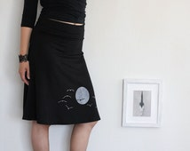 Women jersey skirts, Pull on knit skirt, Women skirts midi, Black knee length skirt A-line, Graphic skirts - The sunset and the flying birds