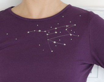 Unique Gift for Women, Unique t shirt for women, Long sleeve graphic t shirt, Purple Cotton T-shirt The Great Bear constellation