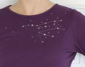 Unique Gift for Women, Unique t shirt for women, Long sleeve graphic t shirt, Purple Cotton T-shirt The Great Bear constellation