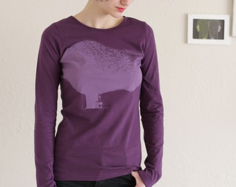 50% OFF .  Black Friday Cyber Monday Sale Long Sleeves Purple Cotton T-shirt - Tree huger