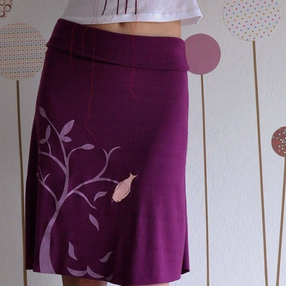 Plum Knee Length Skirt Screen Printed with my Drawing-The bird and the falling leaves-S\/M\/L