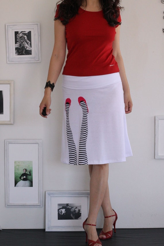 White knee length summer skirt-Legs on the wall-size Large