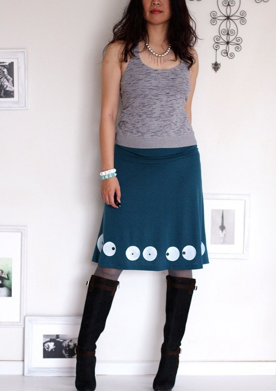 Super Cute Knee Length Teal Blue Skirt-Big eyes-size Large