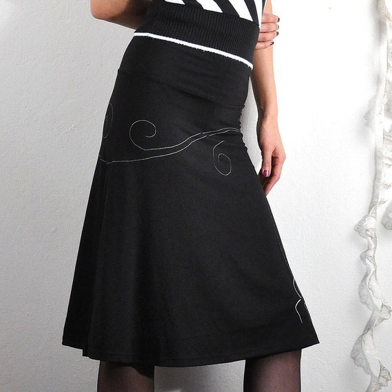 Knee Length Black Skirt . Handmade A-line skirt . Maternity