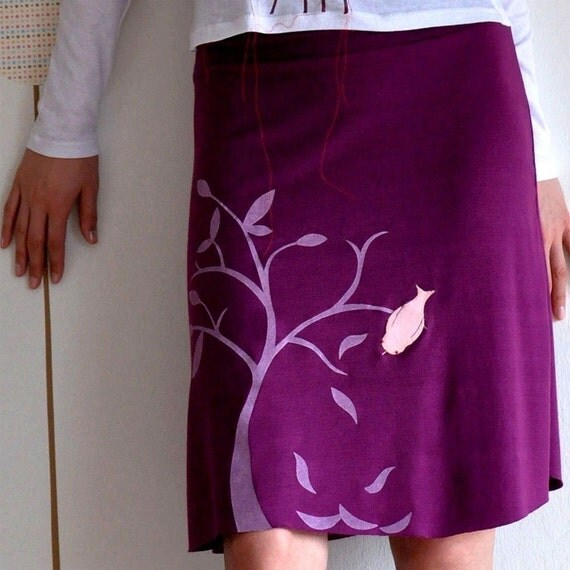 Holiday Sale -Handmade appliqué Knee length A-line Plus size skirt - The bird & the falling leaves - size XL