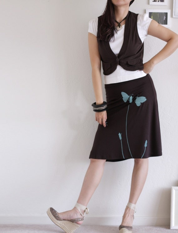 A line Knee Length Brown Skirt . size plus skirt . maternity skirt - Butterfly's office affair - size Large