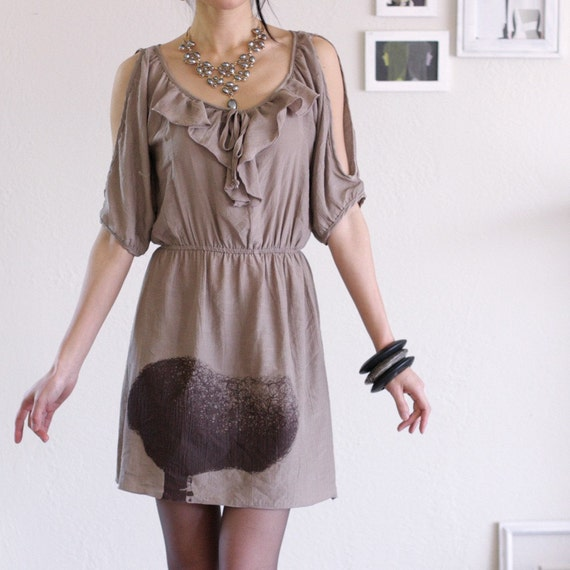Mocha Dress with my drawing-Tree Huger-size Medium