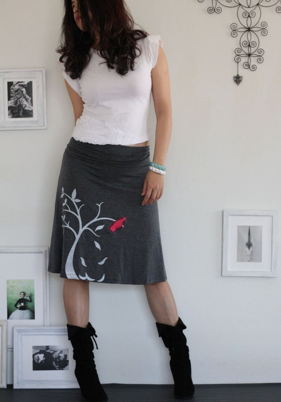 Grey Knee Length Skirt with my Drawing-The bird and the falling leaves-size Medium