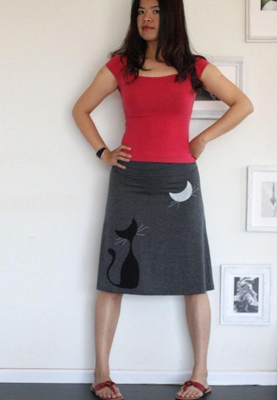 Handmade cat skirt . Grey Knee Length A line Skirt . Gray jersey skirt-Our cat and the moon-size Medium