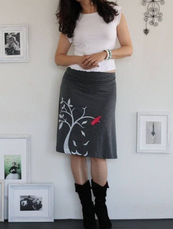 Charcoal Grey Knee Length Skirt with my Drawing-The bird and the falling leaves-size Small