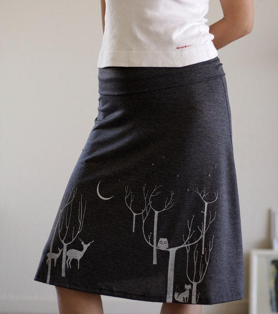 Women's jersey skirt . Gray Knee Length A-line skirt . Plus size skirt . Lovely Neighbors From the Woods - size Extra Large