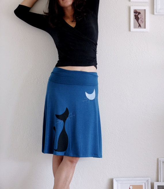 Teal Blue Knee Length A-line jersey skirt . Handmade jersey skirt - Our cat and the moon - size Medium