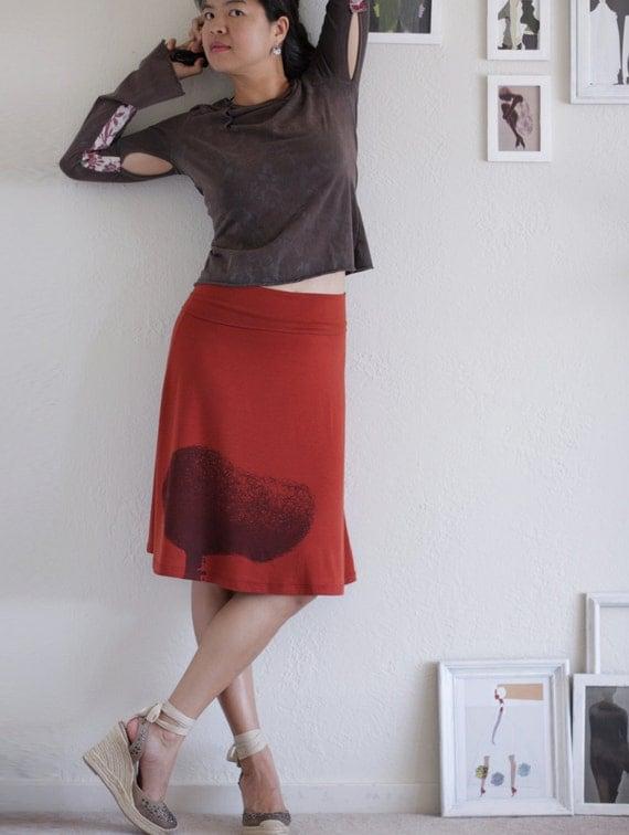 Rusty Orange Knee Length Skirt . A-line jersey maternity skirt - Tree Huger - size Small