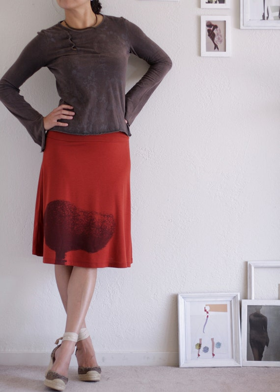 Rusty Orange Knee Length Skirt . A-line maernity jersey skirt - Tree Huger - size Medium