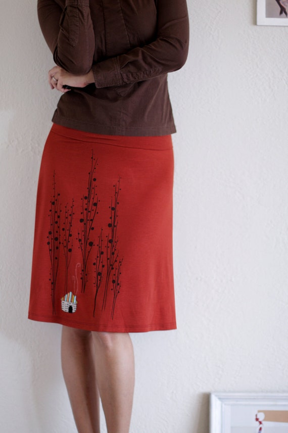 Handmade skirt . Orange Jersey Knee Length A-line appliqué skirt . Plus size skirt - Surrounded by big trees - size Extra Large