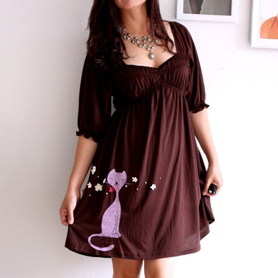 Womens casual summer dresses, Handmade cat appliqué brown greek style knee length dress- Sniffing Kitty