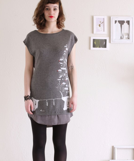Holiday Sale - Womens Spring Dress - Grey/Gray Party dress . Applique dress - Chinese painting study