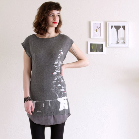 Grey/Gray dress . Applique dress . Winter dress - Chinese painting study - size Small