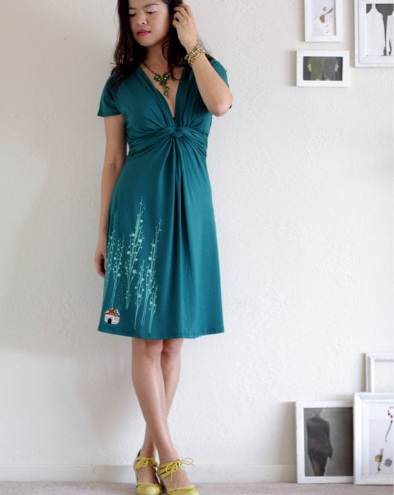Knee length Dress . Teal Green Dress . V-neck dress . Handmade Applique Dress -Surrounded by big trees-szie Extra Large