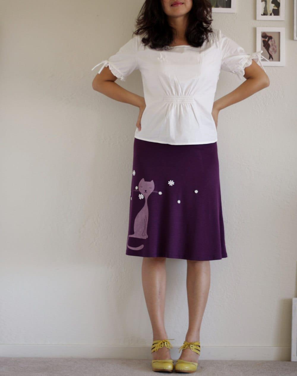 plum a line knee length skirt jersey maternity by