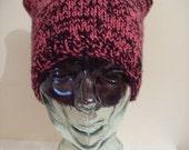 Kitten Ear Hat - Cat Hat - Reversible Knit Beanie - EMO - Pink and Black - Snowboarding Ski