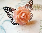 Coral Rose Butterfly Filigree Ring