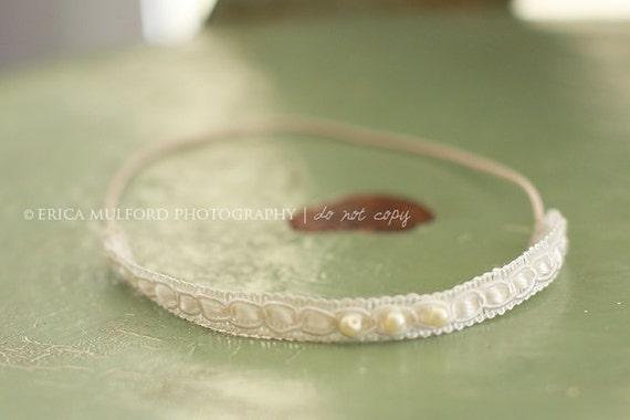 Newborn Lace Headband, Cream with Pearls - vintage newborn toddler photography prop