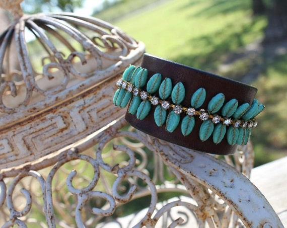 ReCycled Leather into Boho Wrist Cuff- DAZZLED BY DEVINE
