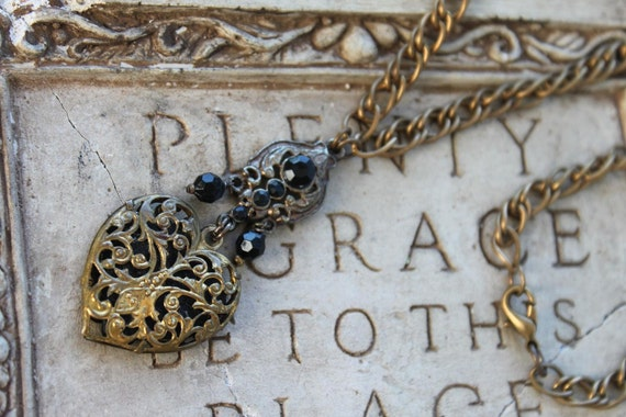 Vintage Filigree Heart and Relics joined for One of a Kind Necklace-ESSENCE