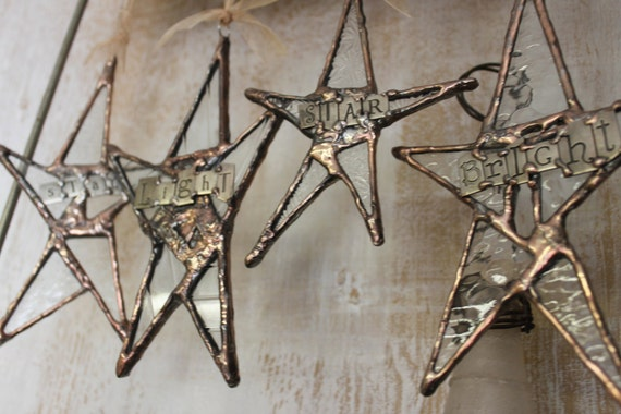 Stars of Stained Glass and Metal Lettering for Wedding Décor or Celebration Set of 4- Star Light Star Bright