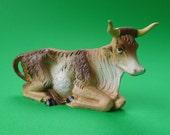"Vintage Nativity Animal Fontanini Ox Seated 5"" Retired Oxen No. 27 Spider Mark Depose Italy - Treasury Item"