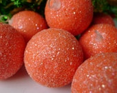 Vintage Christmas Ornaments Retro Tangerine Sugared Ice Snowballs 1960 Era - HGTV Treasury Item