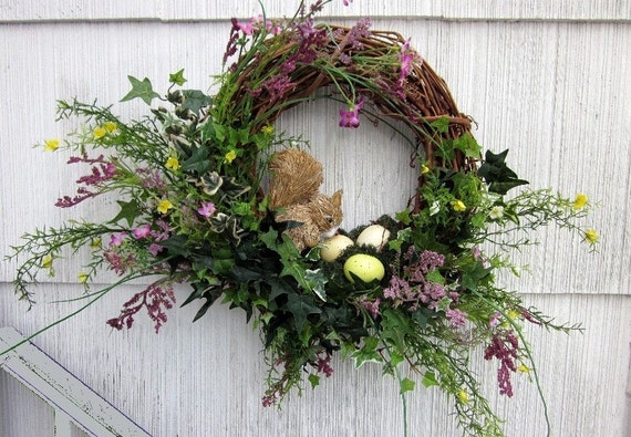 Woodland Wreath Floral Squirrel Bird's Nest & Eggs - Hand Made Grapevine Wall Decor One of a Kind - Treasury Item